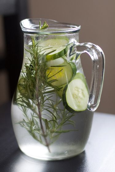 water jug, rosemary, cucumber